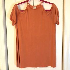 Zara Coral Off-Shoulder Shirt